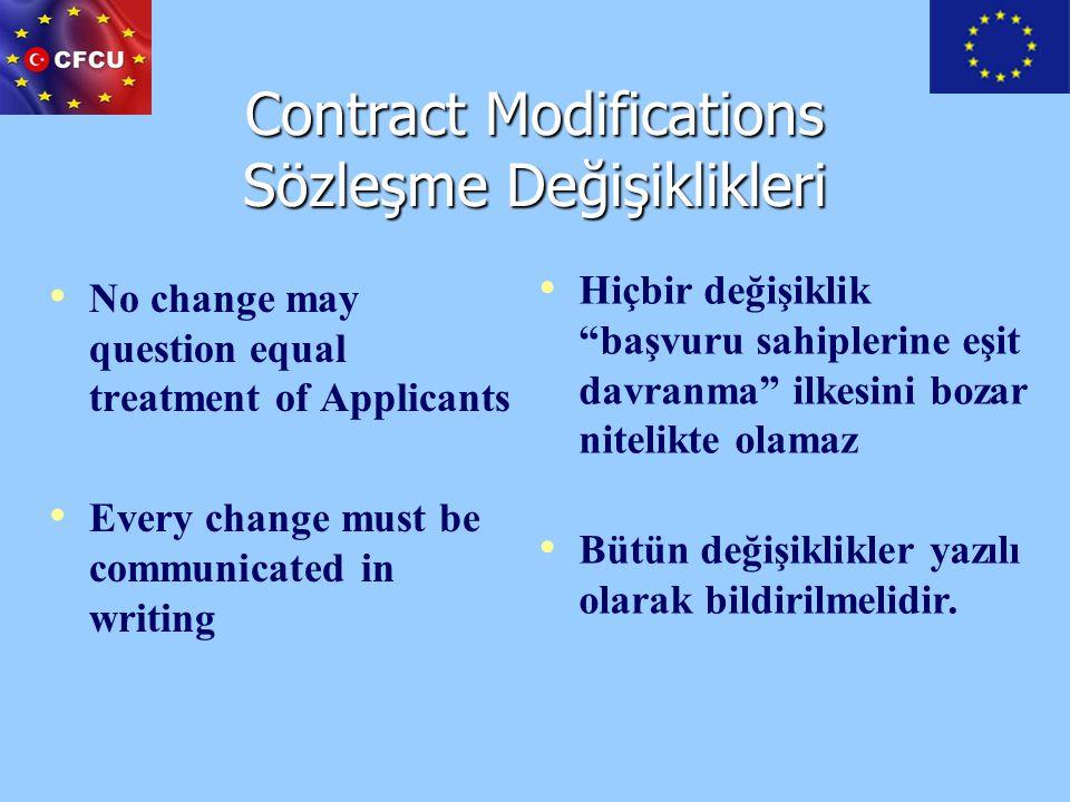 Contract Modifications Sözleşme Değişiklikleri