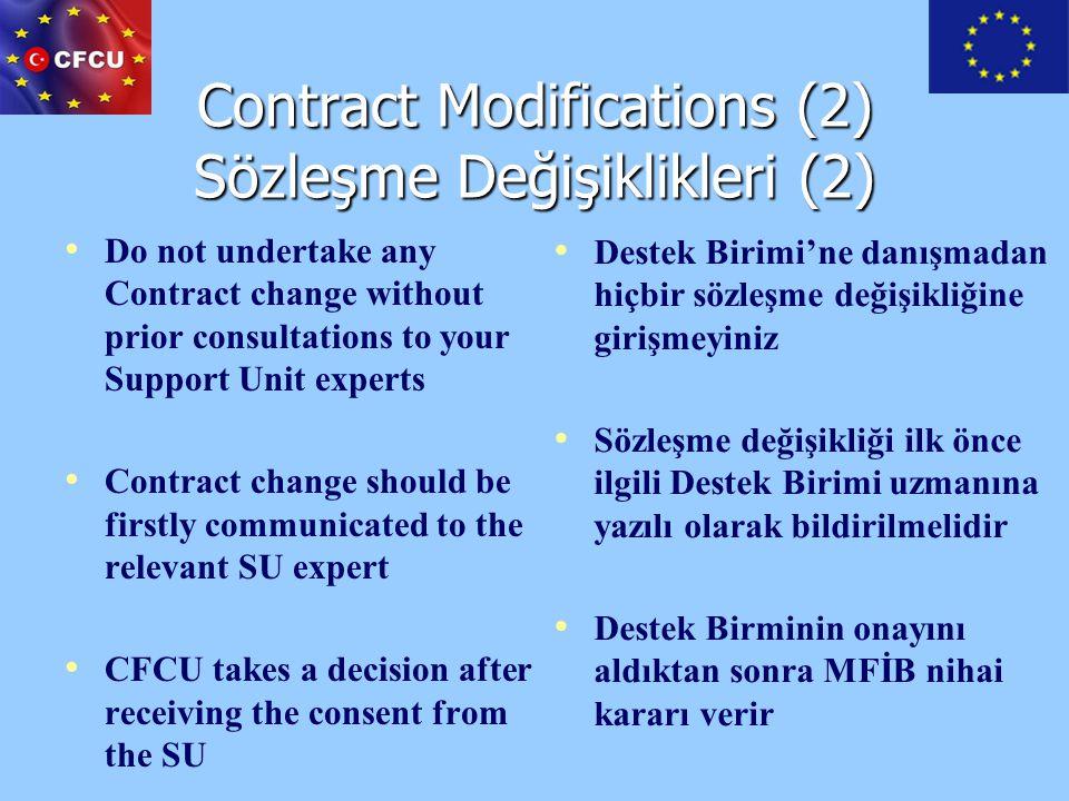 Contract Modifications (2) Sözleşme Değişiklikleri (2)