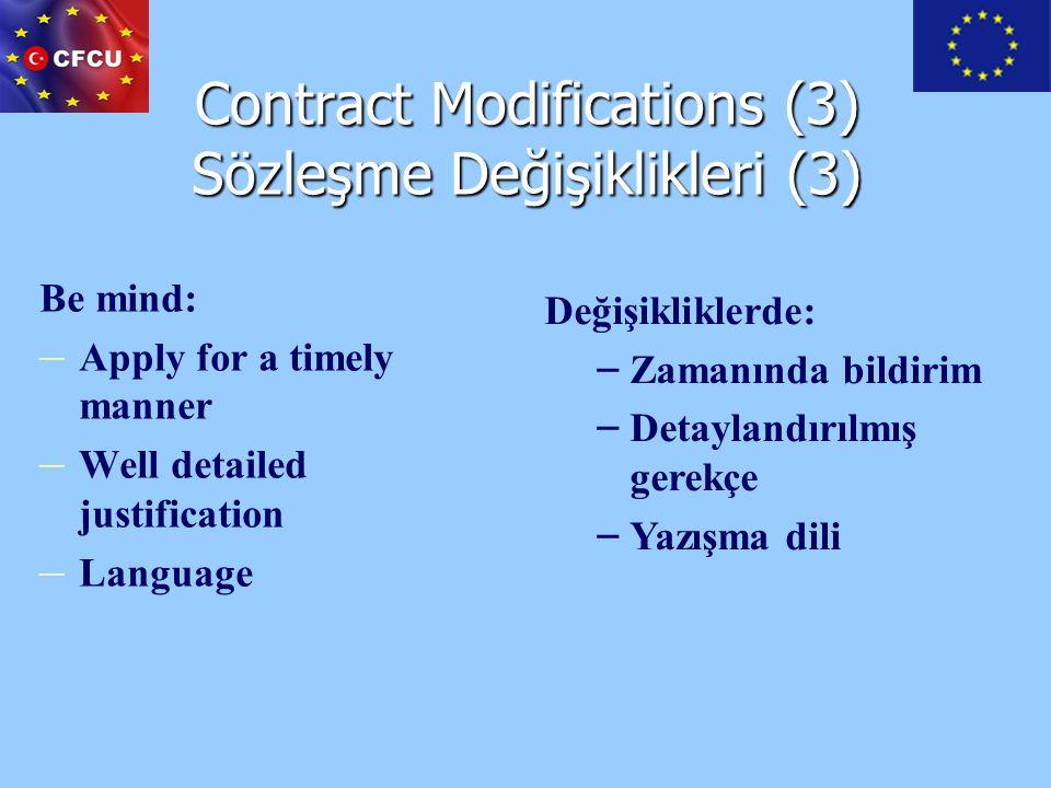 Contract Modifications (3) Sözleşme Değişiklikleri (3)