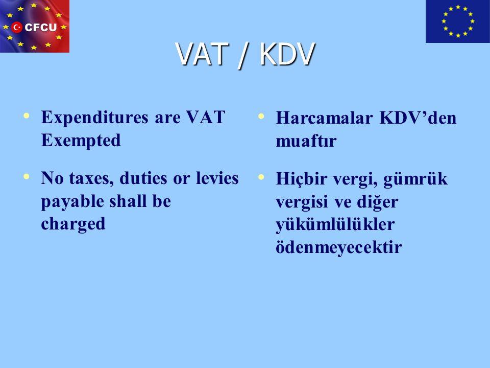 VAT / KDV Expenditures are VAT Exempted Harcamalar KDV'den muaftır