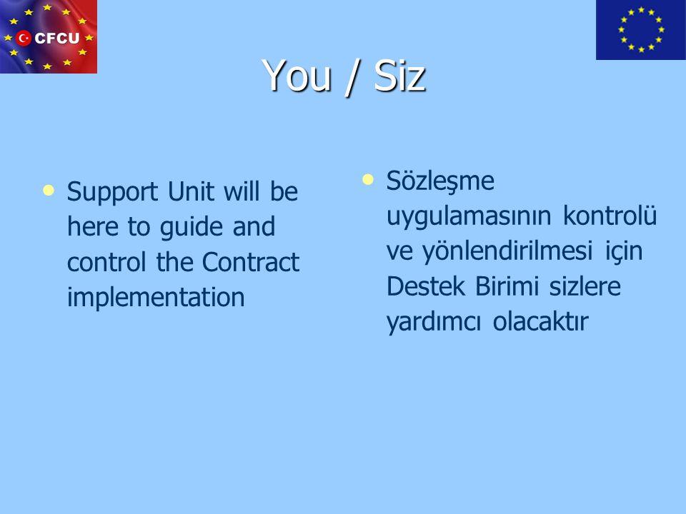 You / Siz Sözleşme uygulamasının kontrolü ve yönlendirilmesi için Destek Birimi sizlere yardımcı olacaktır.