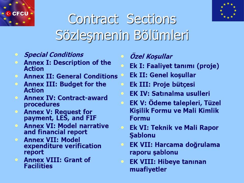 Contract Sections Sözleşmenin Bölümleri
