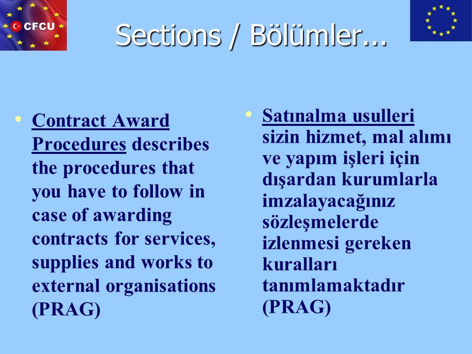 Sections / Bölümler...
