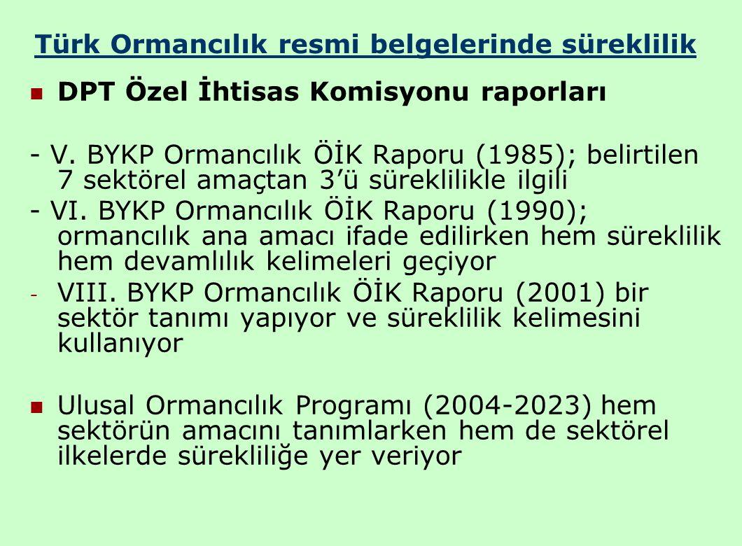 Türk Ormancılık resmi belgelerinde süreklilik