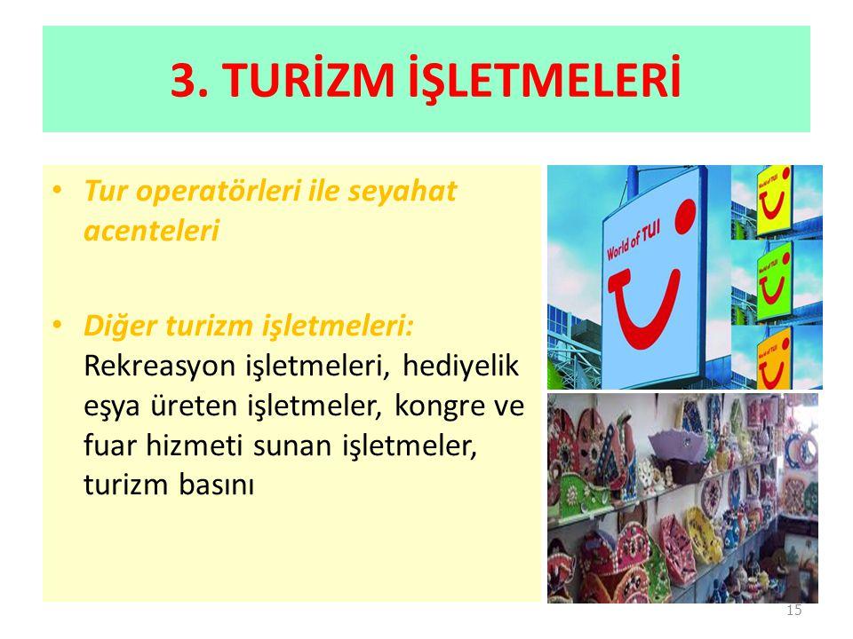3. TURİZM İŞLETMELERİ Tur operatörleri ile seyahat acenteleri