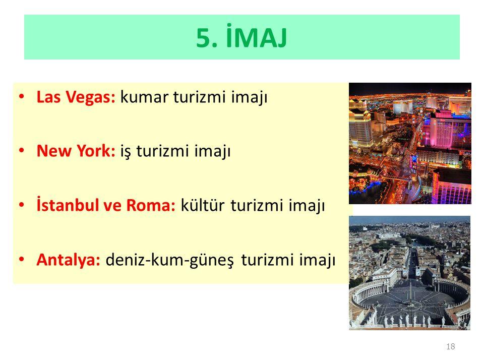 5. İMAJ Las Vegas: kumar turizmi imajı New York: iş turizmi imajı