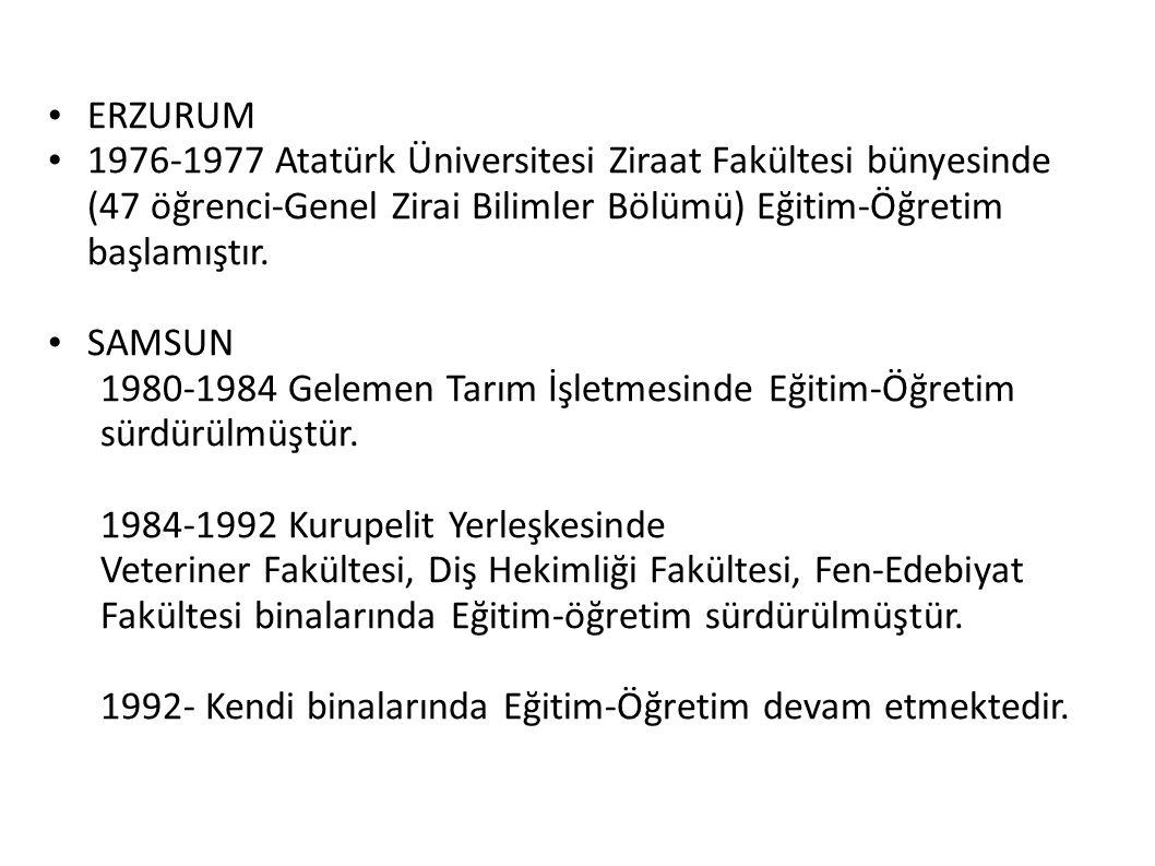 ERZURUM 1976-1977 Atatürk Üniversitesi Ziraat Fakültesi bünyesinde (47 öğrenci-Genel Zirai Bilimler Bölümü) Eğitim-Öğretim başlamıştır.