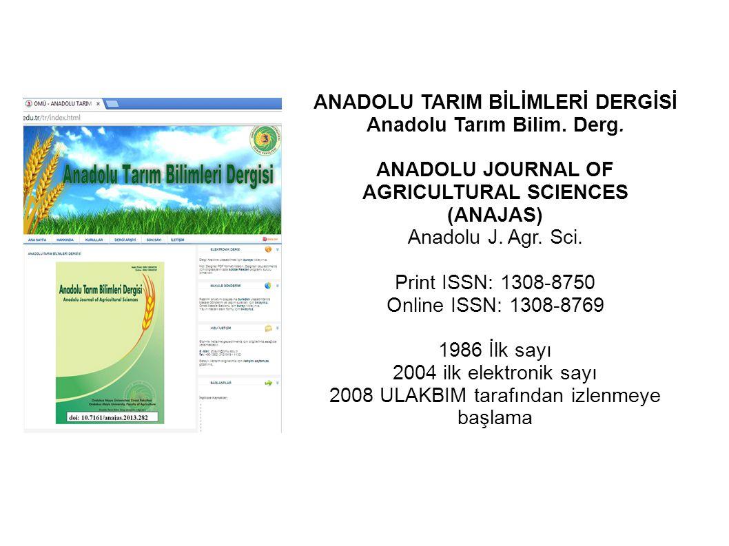 ANADOLU TARIM BİLİMLERİ DERGİSİ Anadolu Tarım Bilim. Derg.