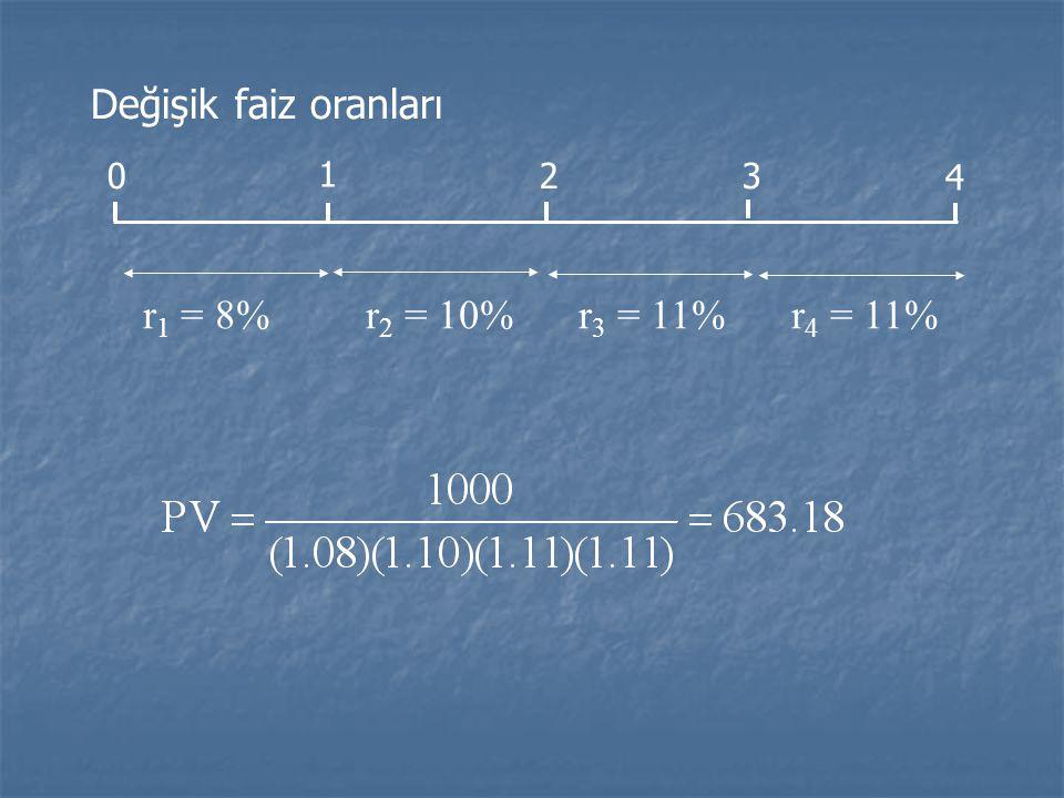 Değişik faiz oranları 1 2 3 4 r1 = 8% r2 = 10% r3 = 11% r4 = 11%