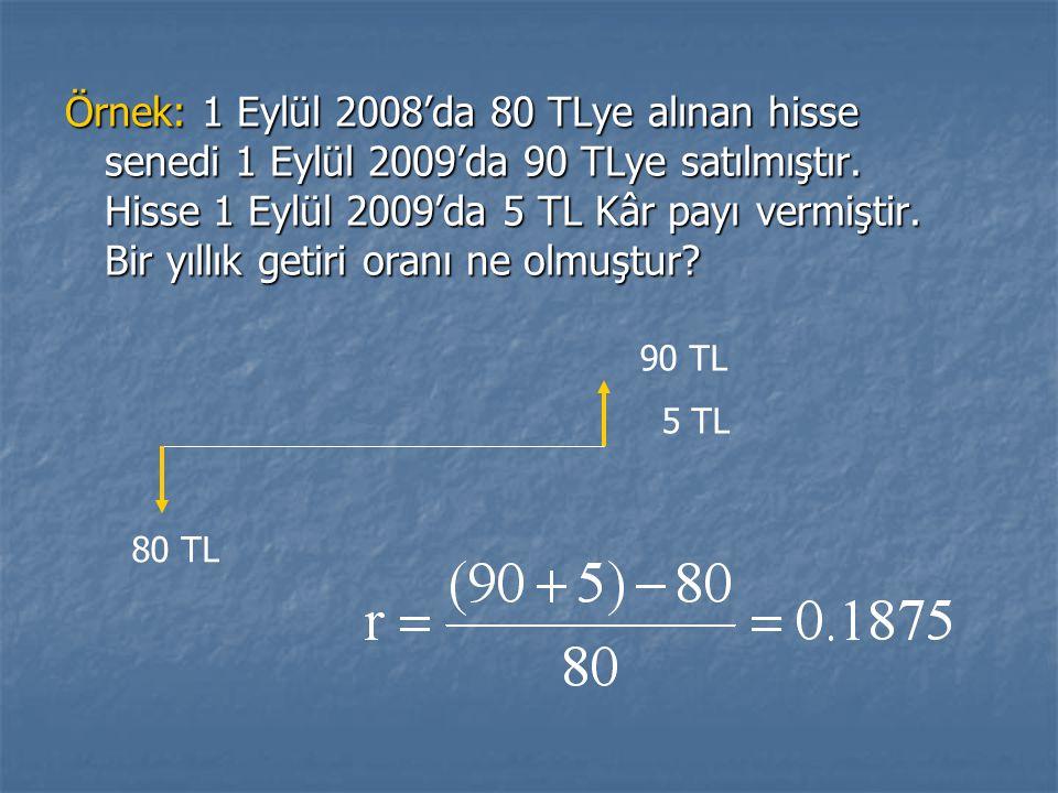 Örnek: 1 Eylül 2008'da 80 TLye alınan hisse senedi 1 Eylül 2009'da 90 TLye satılmıştır. Hisse 1 Eylül 2009'da 5 TL Kâr payı vermiştir. Bir yıllık getiri oranı ne olmuştur