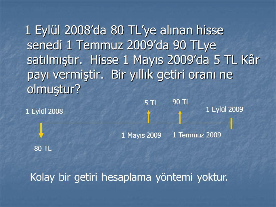 1 Eylül 2008'da 80 TL'ye alınan hisse senedi 1 Temmuz 2009'da 90 TLye satılmıştır. Hisse 1 Mayıs 2009'da 5 TL Kâr payı vermiştir. Bir yıllık getiri oranı ne olmuştur