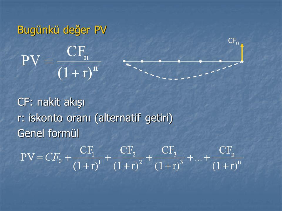 r: iskonto oranı (alternatif getiri) Genel formül