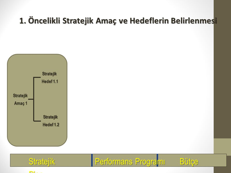 1. Öncelikli Stratejik Amaç ve Hedeflerin Belirlenmesi