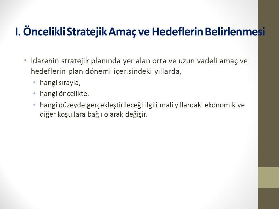 I. Öncelikli Stratejik Amaç ve Hedeflerin Belirlenmesi