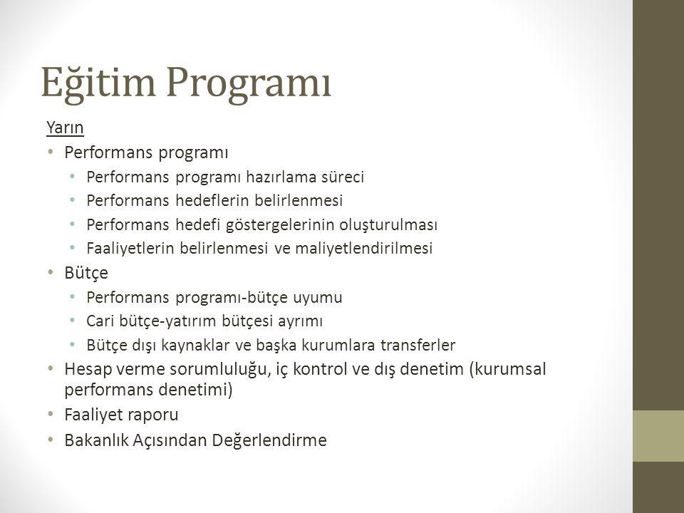 Eğitim Programı Yarın Performans programı Bütçe