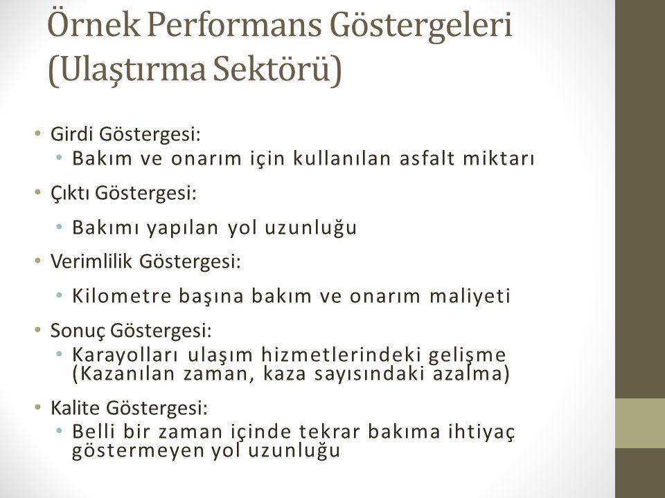 Örnek Performans Göstergeleri (Ulaştırma Sektörü)