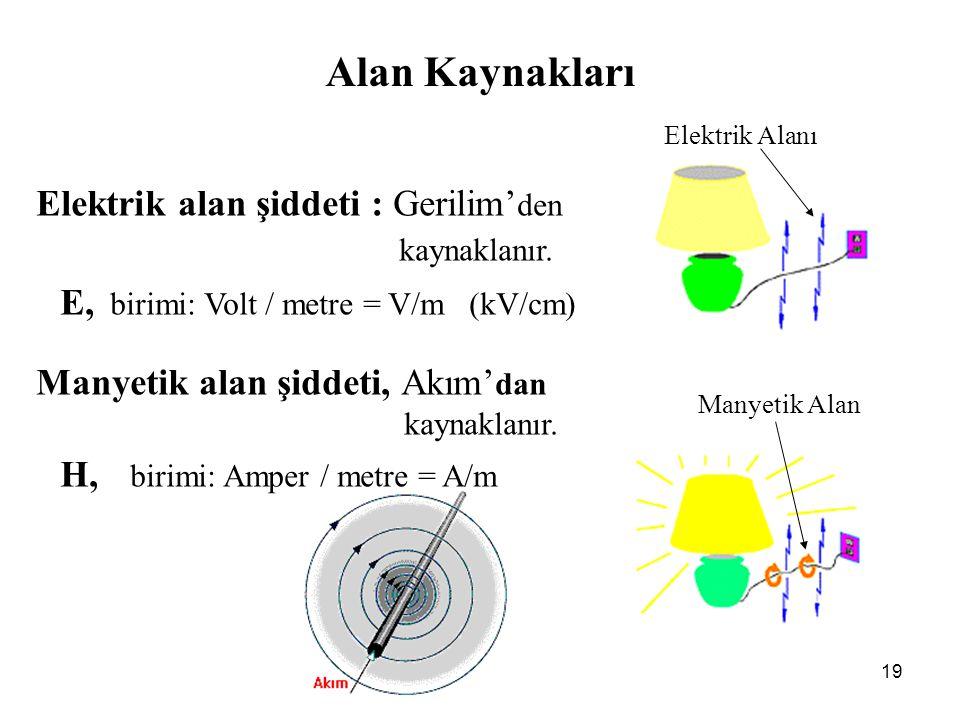 Alan Kaynakları Elektrik alan şiddeti : Gerilim'den kaynaklanır.