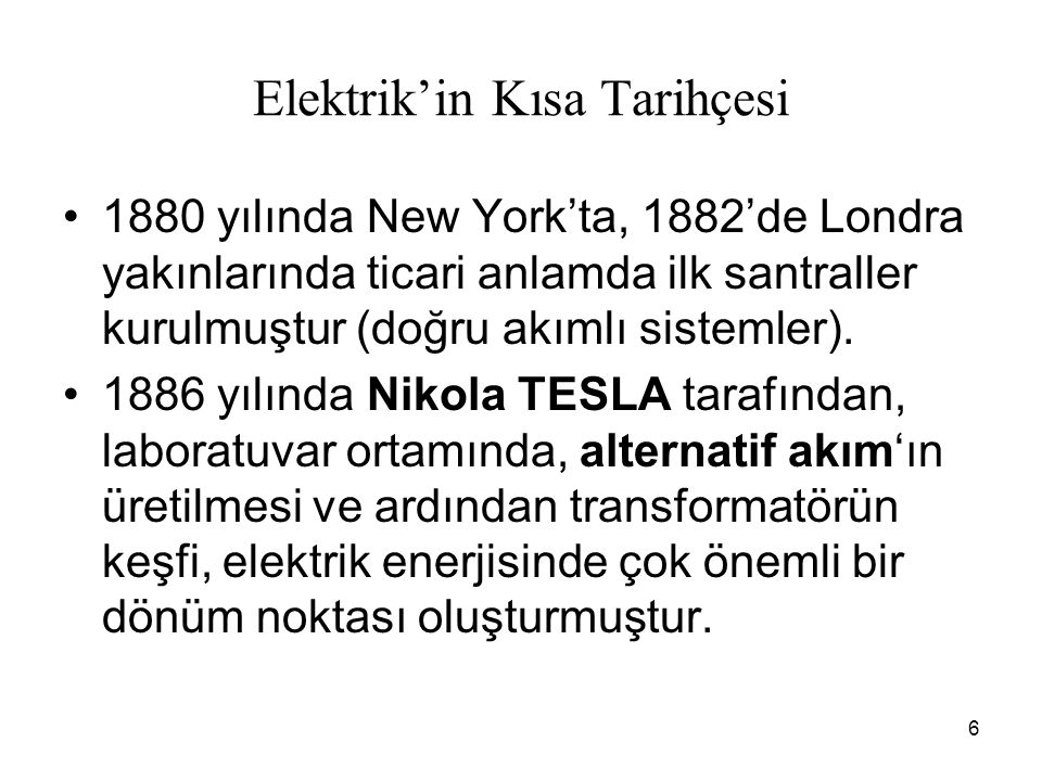 Elektrik'in Kısa Tarihçesi