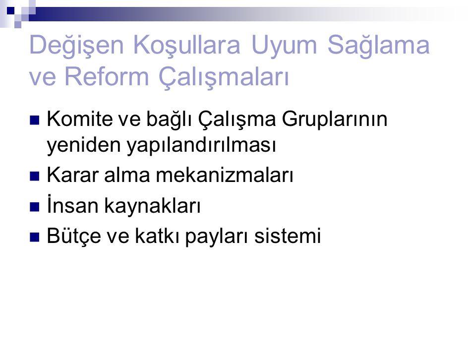 Değişen Koşullara Uyum Sağlama ve Reform Çalışmaları