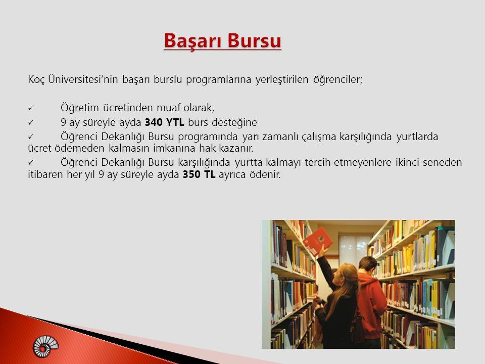 Başarı Bursu Koç Üniversitesi'nin başarı burslu programlarına yerleştirilen öğrenciler; Öğretim ücretinden muaf olarak,