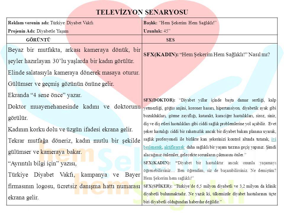 TELEVİZYON SENARYOSU Reklam verenin adı: Türkiye Diyabet Vakfı. Projenin Adı: Diyabetle Yaşam. Başlık: Hem Şekerim Hem Sağlıklı!