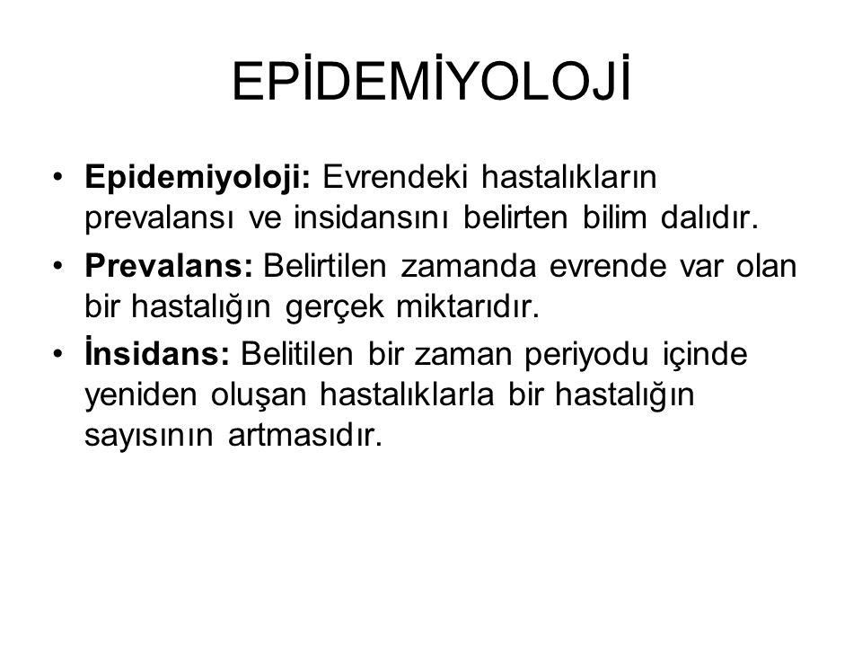 EPİDEMİYOLOJİ Epidemiyoloji: Evrendeki hastalıkların prevalansı ve insidansını belirten bilim dalıdır.