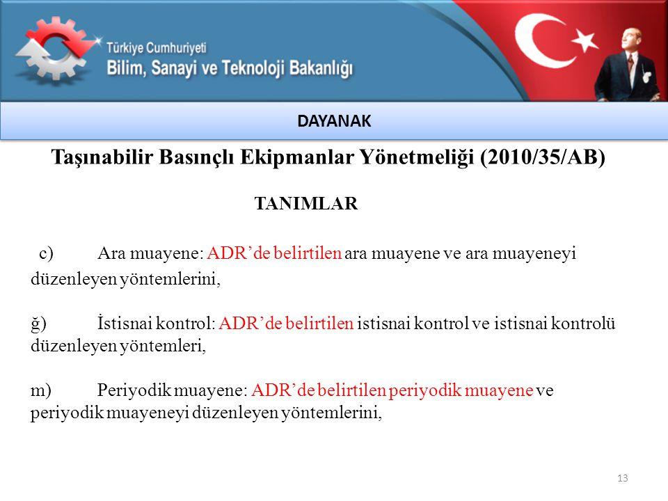 Taşınabilir Basınçlı Ekipmanlar Yönetmeliği (2010/35/AB)