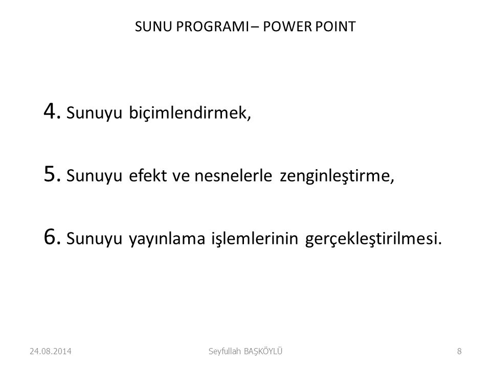 SUNU PROGRAMI – POWER POINT