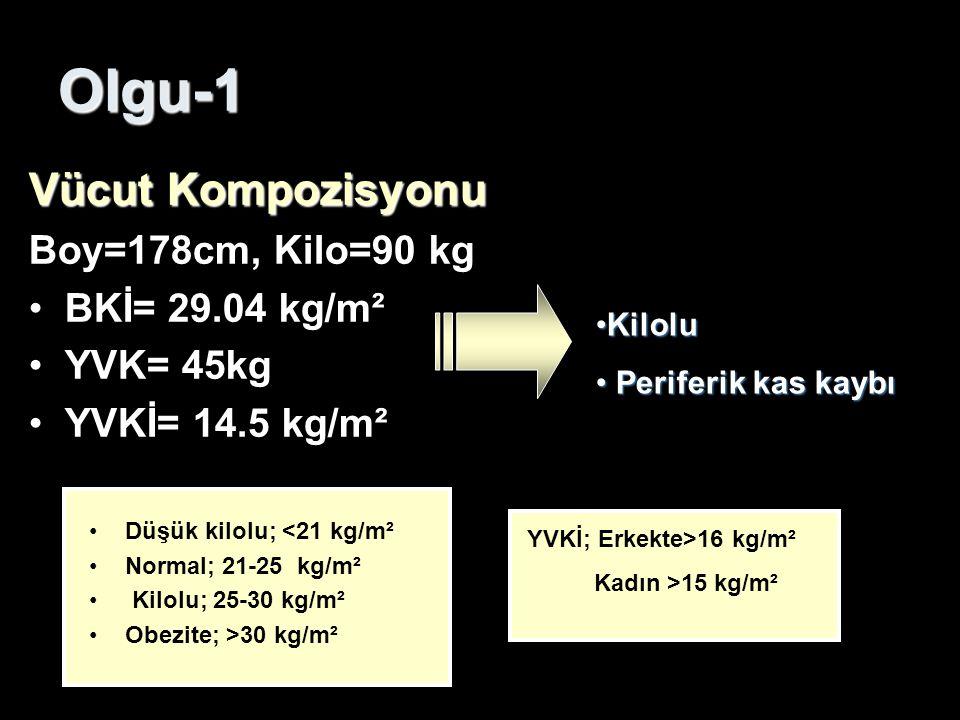 Olgu-1 Vücut Kompozisyonu Boy=178cm, Kilo=90 kg BKİ= 29.04 kg/m²