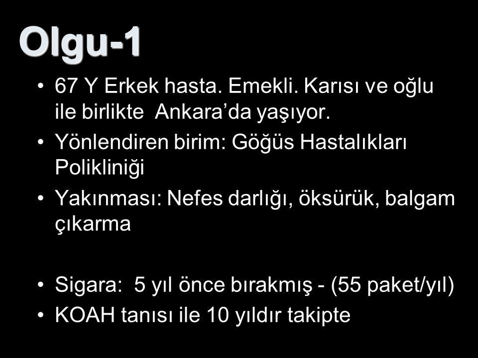 Olgu-1 67 Y Erkek hasta. Emekli. Karısı ve oğlu ile birlikte Ankara'da yaşıyor. Yönlendiren birim: Göğüs Hastalıkları Polikliniği.