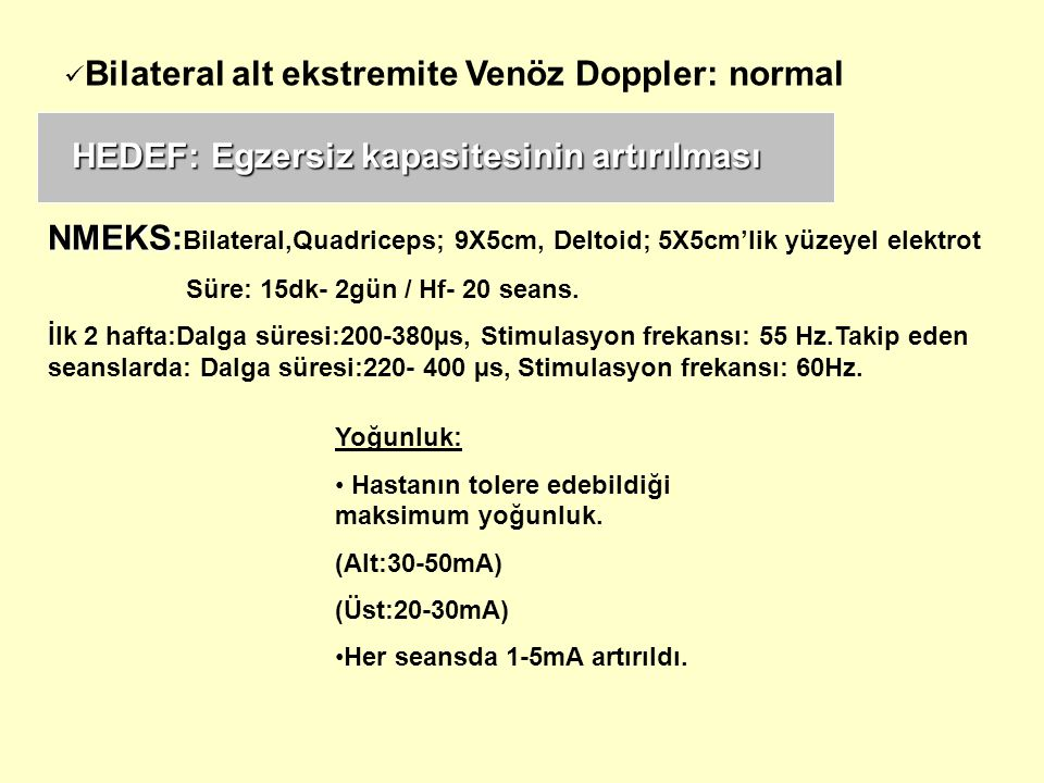 NMEKS:Bilateral,Quadriceps; 9X5cm, Deltoid; 5X5cm'lik yüzeyel elektrot