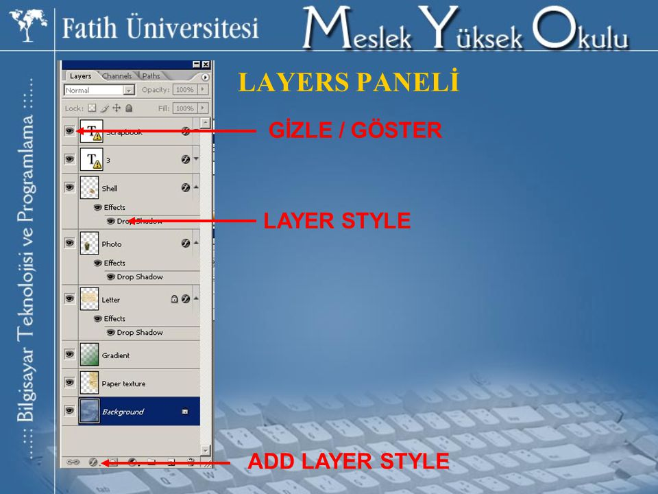 LAYERS PANELİ GİZLE / GÖSTER LAYER STYLE ADD LAYER STYLE