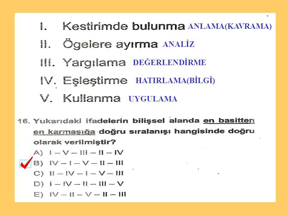 ANLAMA(KAVRAMA) ANALİZ DEĞERLENDİRME HATIRLAMA(BİLGİ) UYGULAMA