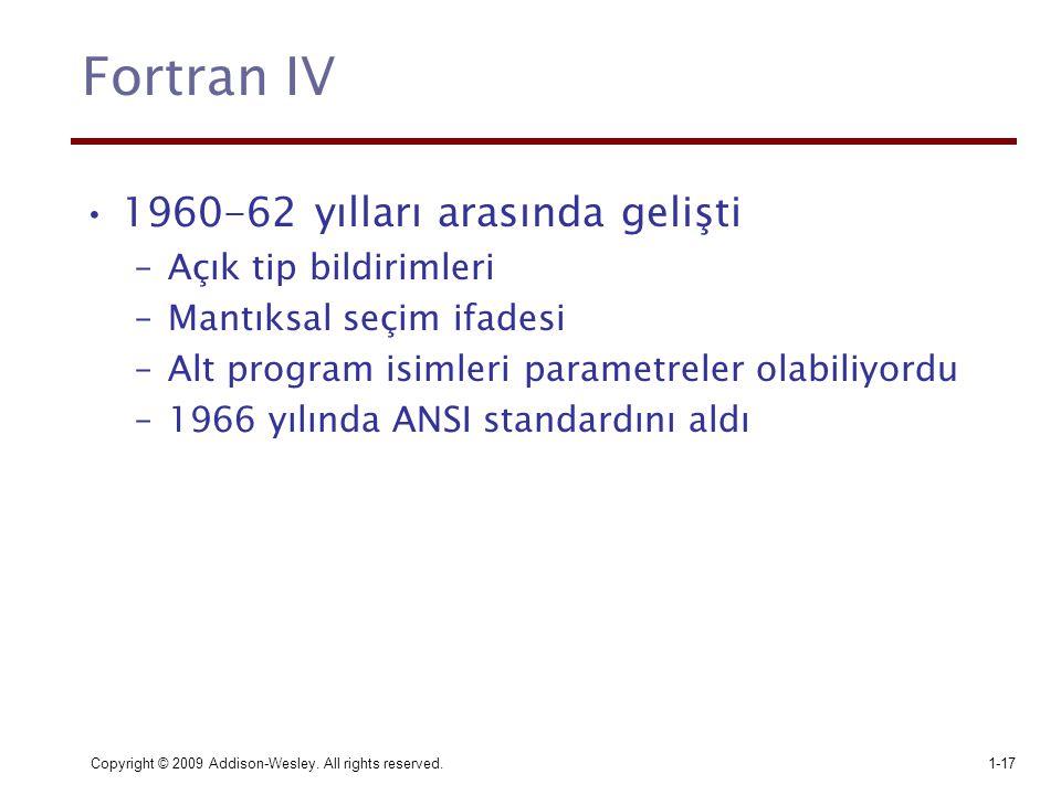 Fortran IV 1960-62 yılları arasında gelişti Açık tip bildirimleri