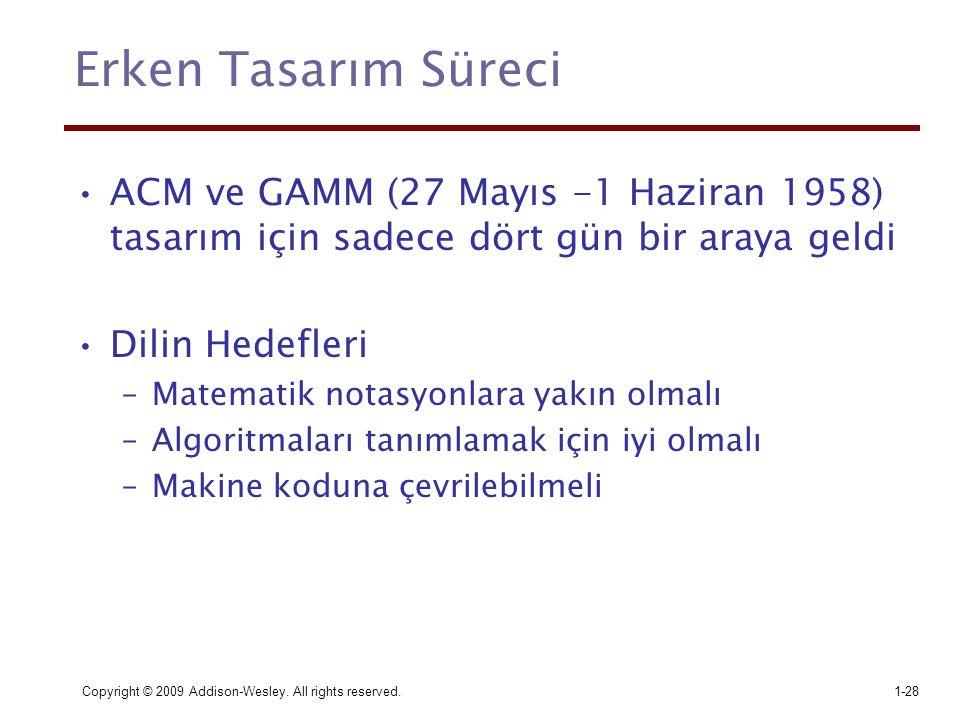 Erken Tasarım Süreci ACM ve GAMM (27 Mayıs -1 Haziran 1958) tasarım için sadece dört gün bir araya geldi.