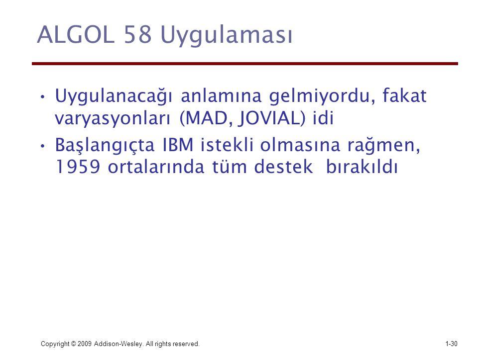 ALGOL 58 Uygulaması Uygulanacağı anlamına gelmiyordu, fakat varyasyonları (MAD, JOVIAL) idi.