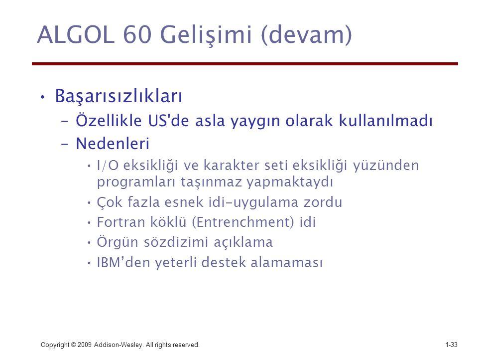 ALGOL 60 Gelişimi (devam)