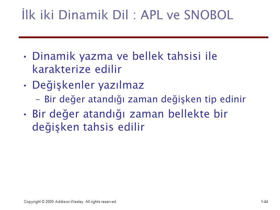 İlk iki Dinamik Dil : APL ve SNOBOL