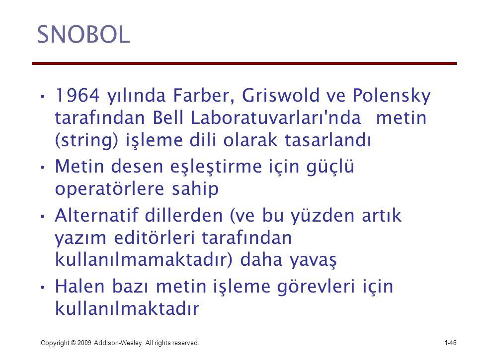 SNOBOL 1964 yılında Farber, Griswold ve Polensky tarafından Bell Laboratuvarları nda metin (string) işleme dili olarak tasarlandı.