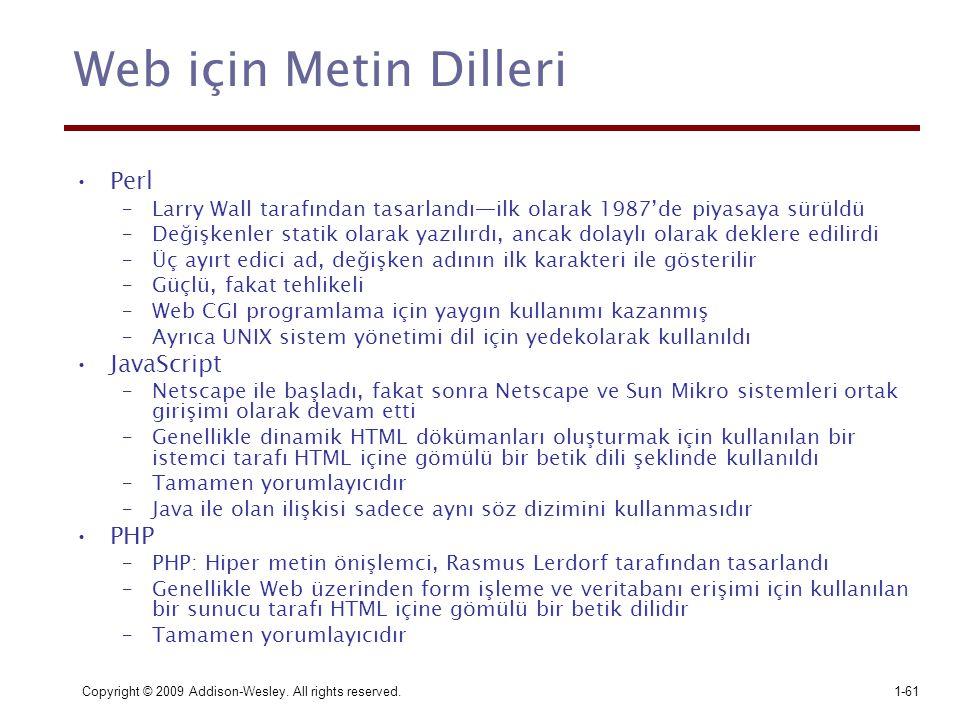 Web için Metin Dilleri Perl JavaScript PHP