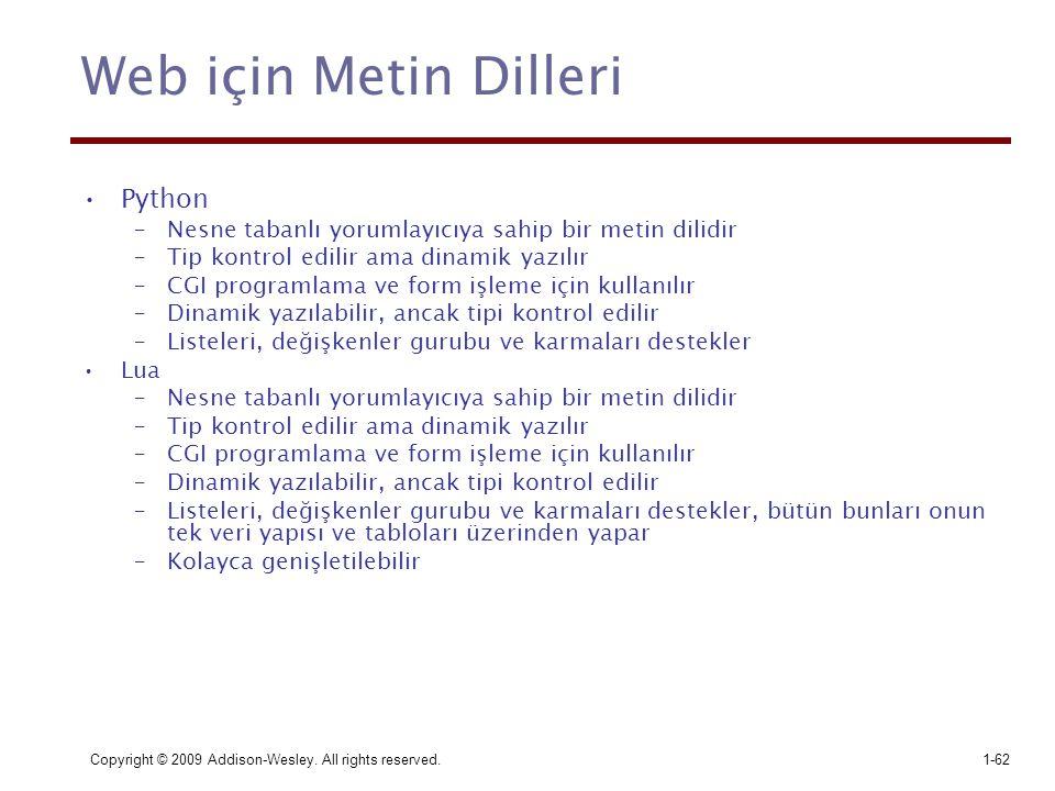 Web için Metin Dilleri Python