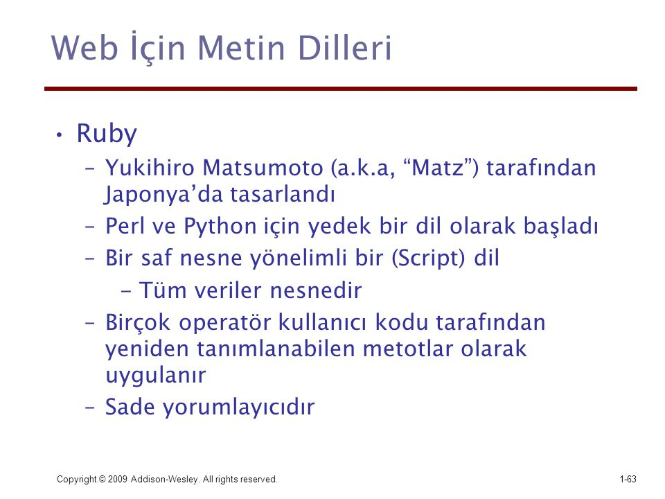 Web İçin Metin Dilleri Ruby