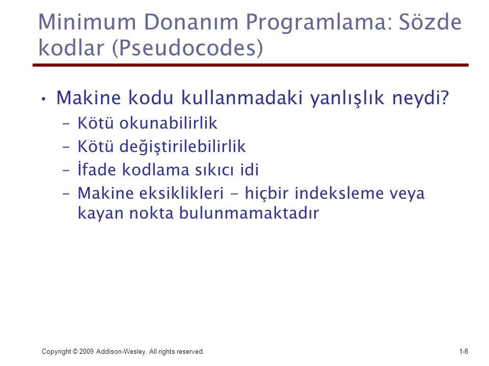 Minimum Donanım Programlama: Sözde kodlar (Pseudocodes)