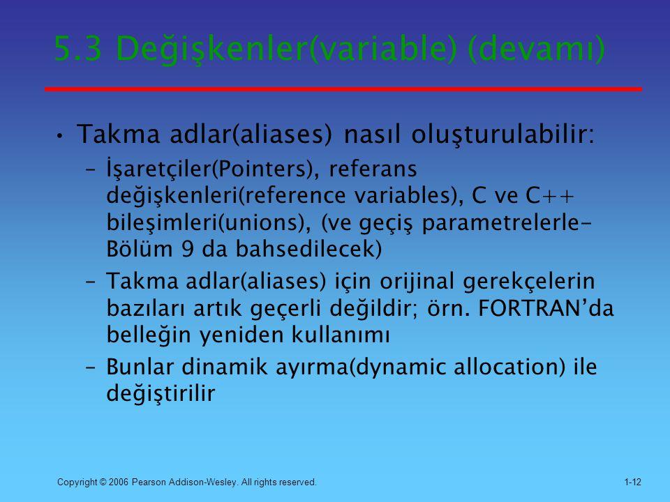 5.3 Değişkenler(variable) (devamı)