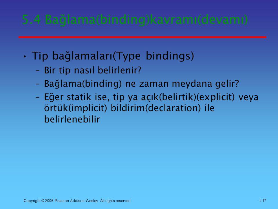 5.4 Bağlama(binding)kavramı(devamı)