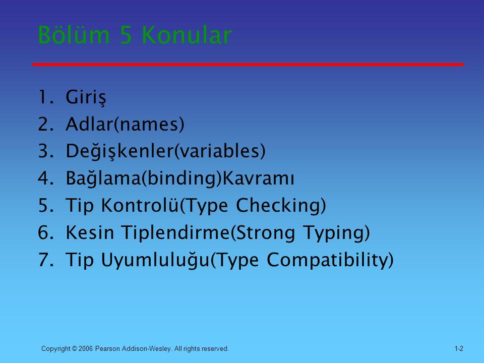 Bölüm 5 Konular Giriş Adlar(names) Değişkenler(variables)