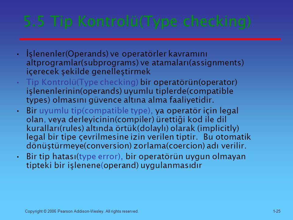 5.5 Tip Kontrolü(Type checking)