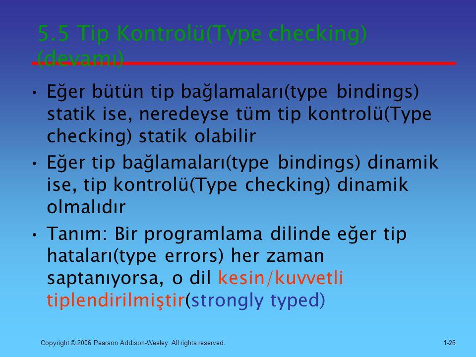 5.5 Tip Kontrolü(Type checking) (devamı)