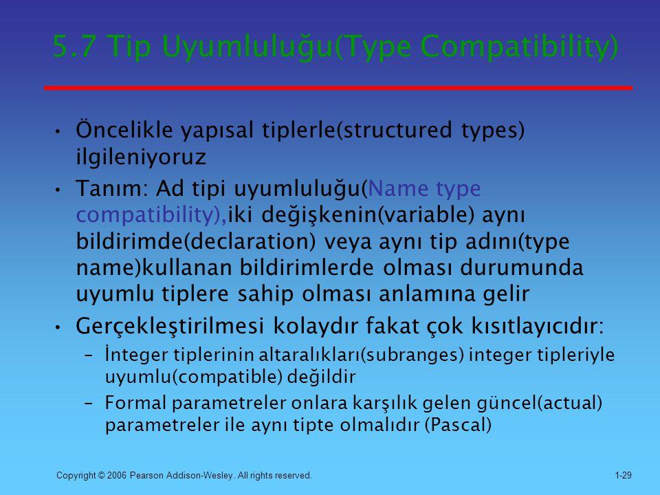 5.7 Tip Uyumluluğu(Type Compatibility)