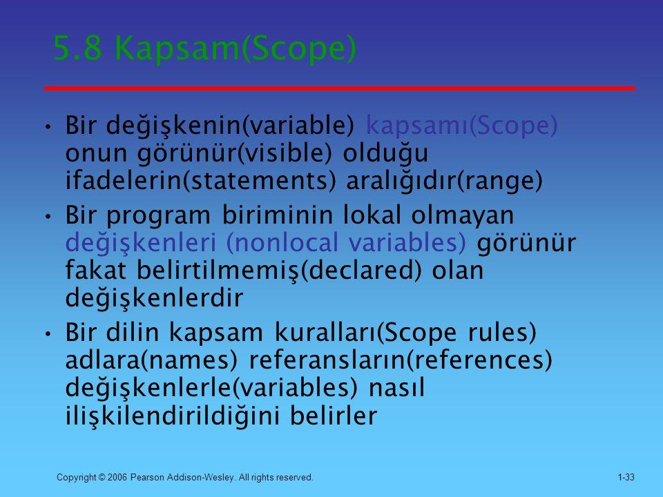 5.8 Kapsam(Scope) Bir değişkenin(variable) kapsamı(Scope) onun görünür(visible) olduğu ifadelerin(statements) aralığıdır(range)